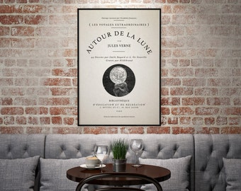 "Vintage Typography Poster - ""Autour De La Lune/Around The Moon"" - Vintage Moon Decor, Typography Decor, Vintage French Art"