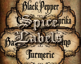 Spice Labels,Apothecary Spice Bottle&Jars Labels,Herbs Labels,Vintage Labels,Hobby Crafting,Instant Download-Digital Collage Sheet