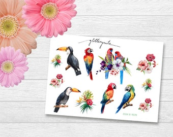Tropical parrot and hibiscus flowers stickers