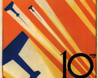 10th Paris Air Show Vintage Ad Poster R. De Valério France 1926 24x36 Flying