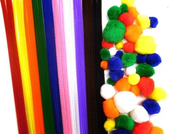 50 Pipe Cleaners 300mm x 4mm and 50 Coloured Pom Poms Pack