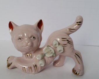1950s Vintage Pink and Gold Cat with Flowers Figurine