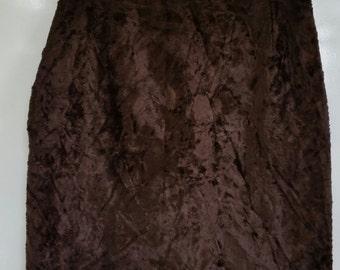 CACHAREL jupe droite vintage année 80 tissu imitation poulain marron Taille 40/42 TTBE