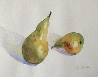 Two Pears Original Watercolor Painting