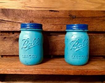 Painted mason jar lantern set