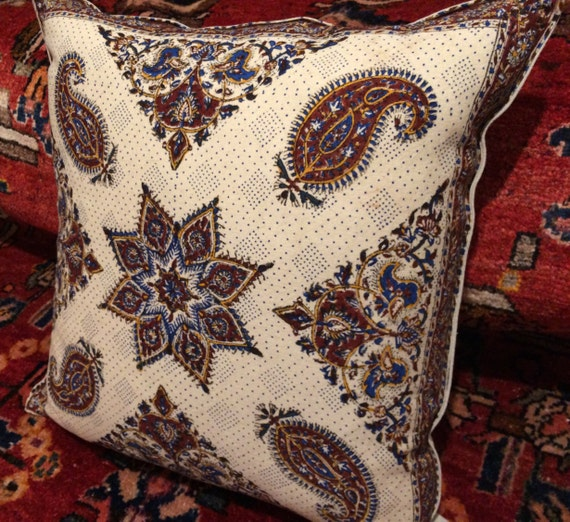 """Hand block printed paisley pillow , 24"""" inches natural dyes tapestry sofa cushion Cotton and linen pillow, paisley pattern, cottage style"""
