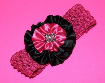 Hot Pink Elastic Headband With Pink and Black Flower