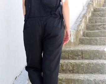 Linen Jumpsuit, Black Jumpsuit,Summer Jumpsuit,Black Linen Jumpsuit, Linen Overall,Womens Jumpsuit,Linen Romper,Linen Clothes
