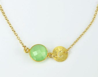 Custom Birthstone necklace, August Birthstone initial necklace, peridot green chalcedony necklace, custom bridesmaid necklace Mothers day