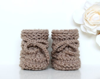 Knitted Baby Booties, Neutral Knitted Baby Shoes, Sparkling Baby Booties, Crib Shoes, Beige Baby Booties