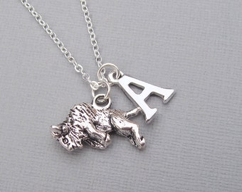 Silver buffalo necklace, personalized bison pendant, silver letter charm, customized gift for her, animal jewelry