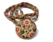 Pink Flower Pendant On A Kumihimo Necklace (v2)