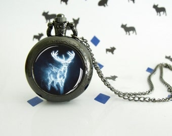 Choose your Patronus - Harry Potter - Pocket watch - Victorian Steampunk style - Glass cabochon - Special Easy gift - Pottermania