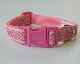 Pink and White Dog Collar, Pink Dog Collar, Adjustable Dog Collar, Girl Dog Collar