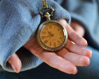 Vintage Bronze Pocket Watch Necklace