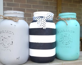 decorative painted mason jars - stripes and solids
