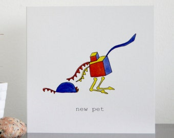 Congratulations on getting a 'new pet' illustrated greeting card. Cat or dog!