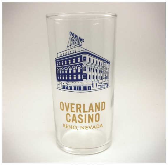 Overland Hotel Glass Overland Casino Reno Nevada Blue & Yellow