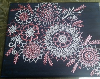 Henna inspired wall art on canvas