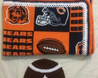 Chicago Bears fleece blanket and hat