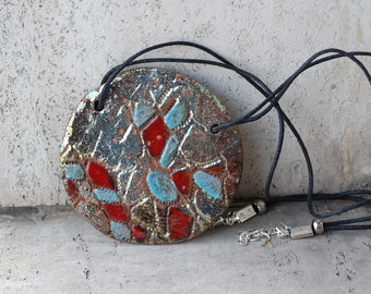 Raku ceramic Fashion pendant jewelry necklace handmade jewelry gifts for women gifts for her