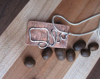 Mixed metal copper coffee mug pendant and necklace