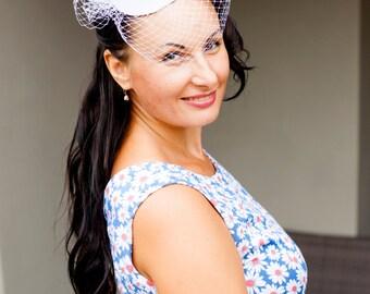 White Wedding Fascinator Bride Hat with Veil, Wedding Headpiece, Bridal Headpiece READY TO SHIP