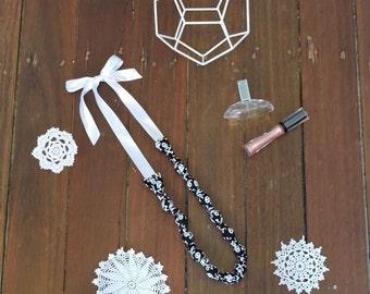 Fabric Beaded Teething Necklace- Black Skulls