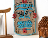 Tiki wooden Wall Clock