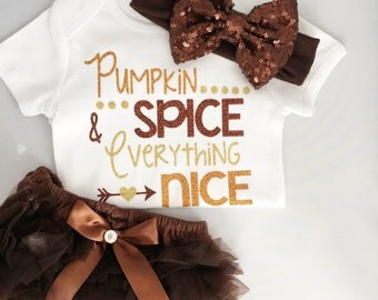 Pumpkin spice & everything nice/ fall outfit/ thanksgiving outfit/ baby girl outfit/ sweet sparkle