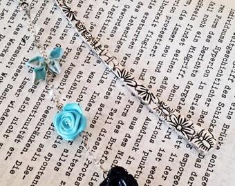bookmark - flower, blue, black, charms