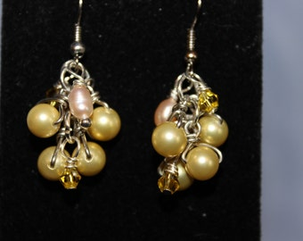 Pastel Yellow Pearl Earrings