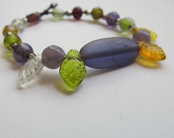 Beaded Bracelet with Lavender and Leaves Original Jewelry