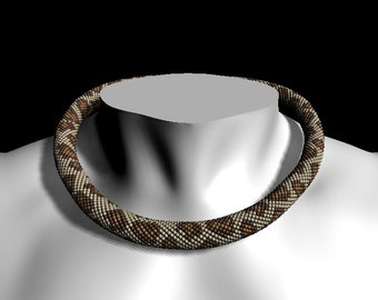 "Bead crochet pattern necklace or bracelet ""Leopard"" - Bead crochet pattern PDF tutorial  - Pattern Only"