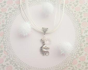 Unicorn Necklace, Kids Jewelry, Organza Necklace, Unicorn Jewelry, Children's Fashion, White Necklace, Fantasy Charm, Fairytale Necklace