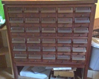 Rare Vintage Library Card Catalog w Bakelite Drawers