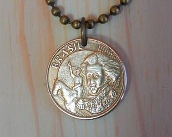 Brazil Coin Necklace, Brazilian  10 Centavos Coin Pendant Charm