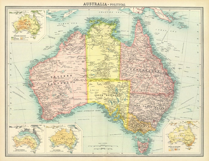 Old map of australia new zealand and tasmania printable zoom sciox Gallery