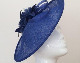 Headpiece - Fascinator - Wedding Hat - Winter Wedding - Racing - Hatinator - Royal Blue - Sapphire - Cobalt -  Mother of the Bride /Groom