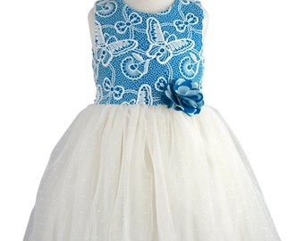 Butterfly Lace Top, Bow & Corsage Party/Bridesmaid Dress