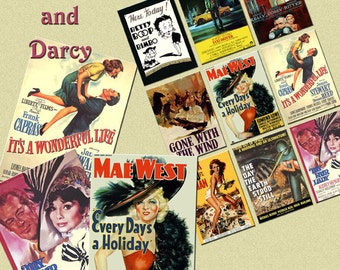 Classic, vintage movie posters, digital collage sheet, digital download, film posters