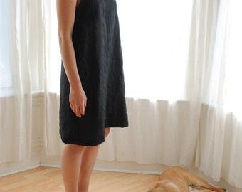 Sun Dress Black Linen