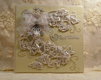 Wedding Card / Best Wishes Card / Keepsake Card / Wedding Lace Card / Stand-up Card / One of a Kind Card / Unique Card / Luxury Card /