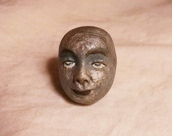 Statement Ring Whimsical Miniature Painted Face Goddess