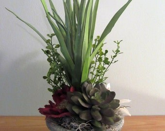 Mixed Succulents in Pottery, Greenery, Floral Arrangement, Handmade, Country Decor, Succulents, Handmade Decor