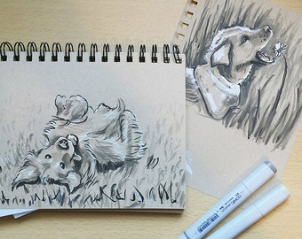 Custom Pet Portrait -Bespoke, Animal, Pet, Cat, Dog - Watercolor Marker Ink Gouache Painting Original Art