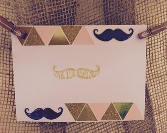Mustache Thank You Cards with Envelopes- Set of 8