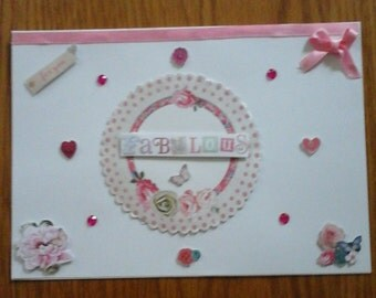 Pink and white lovely Love Card with envelope 21x14.5cm