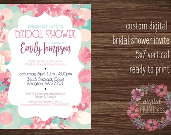 Personalized Bridal Shower Invitation 5x7 pink and blue