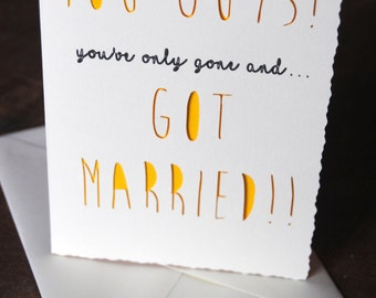 YOU GUYS Cute Wedding Card Couples Married A6
